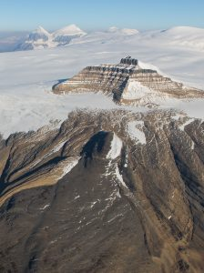 Aerial view of Castleguard Mountain Columbia Icefield